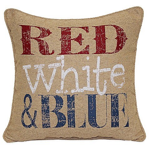 Red-White-Blue Square Throw Pillow in Multi - Bed Bath & Beyond