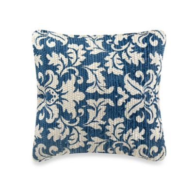 Chindi Woven Medallion Square Throw Pillow in Navy