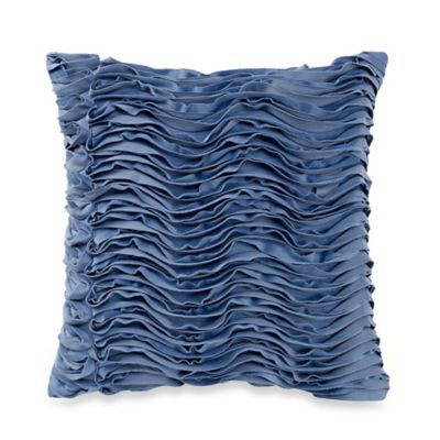 Waves Square Throw Pillow in Blue