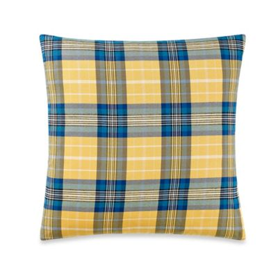 Pablo Plaid Square Throw Pillow in Blue/Yellow