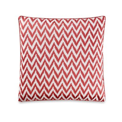 Embroidered Chevron Square Throw Pillow in Coral