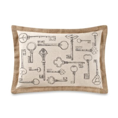 Locksmith Oblong Throw Pillow in Taupe