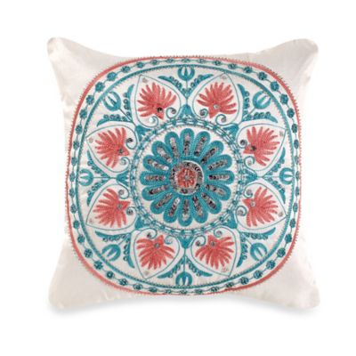 Pixie Square Throw Pillow in Coral/Aqua