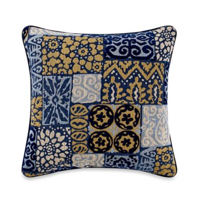Portland Square Throw Pillow in Blue/Yellow