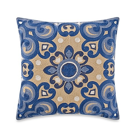 Yellow Throw Pillows Bed : Provence Square Throw Pillow in Yellow/Blue - Bed Bath & Beyond
