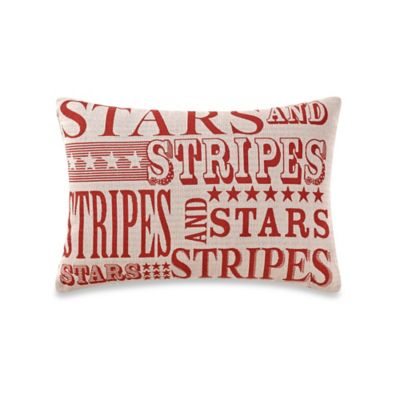 Stars and Stripes Oblong Throw Pillow in Linen