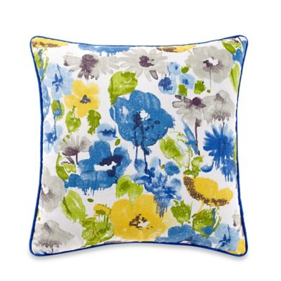 Jacklyn Square Throw Pillow in Yellow/Blue
