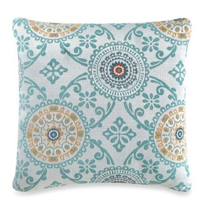 Sicily Square Throw Pillow in Aqua