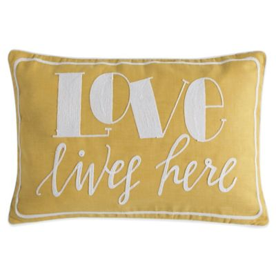 Love Lives Here Oblong Throw Pillow in Yellow