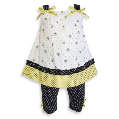 Blueberi Boulevard Size 18M 2-Piece Top and Capri Legging Set in Yellow/White