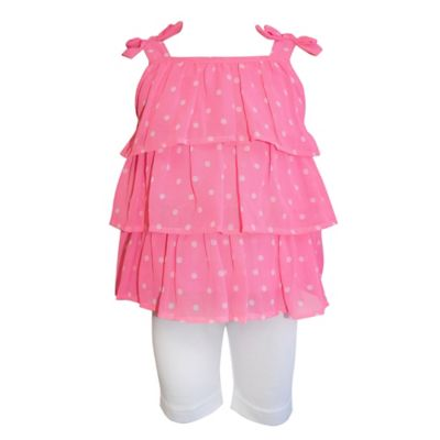 Blueberi Boulevard Size 2T 2-Piece Ruffle Top and Legging Set in Pink Dot