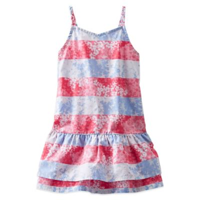 OshKosh B'gosh® Size 18M 2-Piece Striped Woven Dress and Diaper Cover Set in Red/Blue