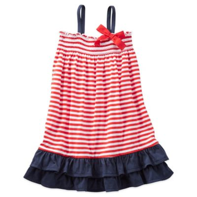 OshKosh B'gosh® Size 18M 2-Piece Striped Ruffle Jersey Dress and Diaper Cover Set in Red