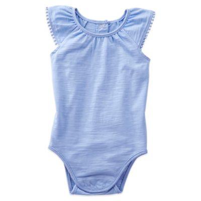 OshKosh B'gosh® Size 9M Pom-Pom Flutter Sleeve Bodysuit in Blue