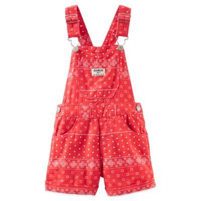OshKosh B'gosh® Size 3T Bandana Linen Shortall in Red/White