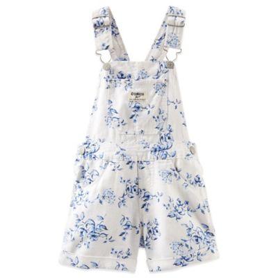 OshKosh B'gosh® Size 3M Floral Linen Shortall in White/Blue