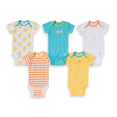 Gerber ONESIES® Brand Size 0-3M 5-Pack Cutest Baby/Print Short Sleeve Bodysuits in Yellow/Blue