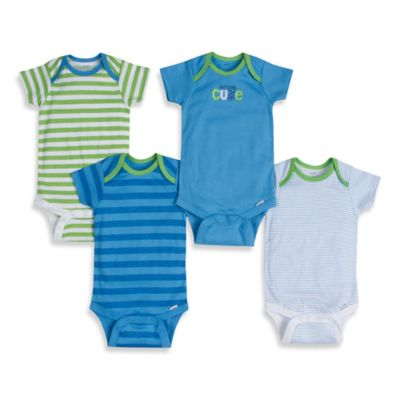 Gerber ONESIES® Brand Size 12M 4-Pack Seriously Cute/Stripes Short-Sleeve Bodysuit in Blue/Green