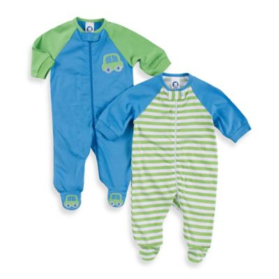 Gerber® Newborn 2-Pack Tab-Collar Car/Stripe Sleep 'n Play Footie in Blue/Green
