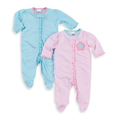 Gerber® Sleep n' Play Newborn 2-Pack Flower and Polka Dot Footies in Pink/Blue