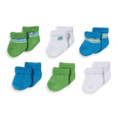 Gerber® Size 0-3M 6-Pack Car/Stripe Terry Bootie Socks in Green/Blue/White