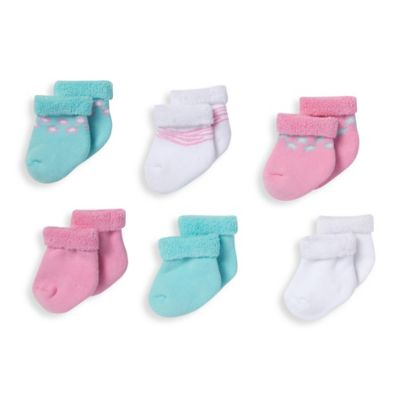Gerber® Size 0-3M 6-Pack Terry Bootie Socks in Pink/Aqua/White