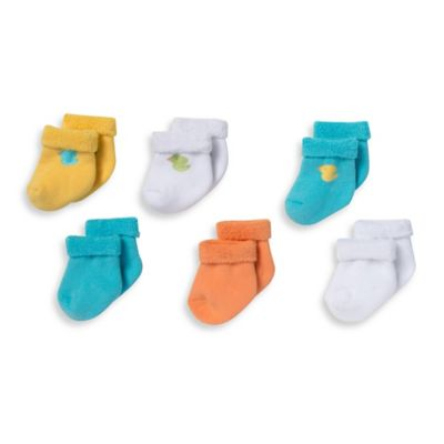 Gerber® Size 0-3M 6-Pack Duck/Solid Terry Bootie Socks in Yellow/Orange/Blue/White