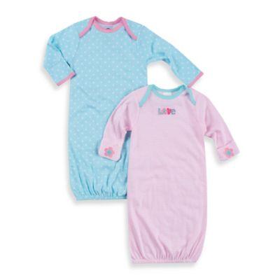 Gerber® 2-Pack Newborn Gown in Blue Dot/Pink