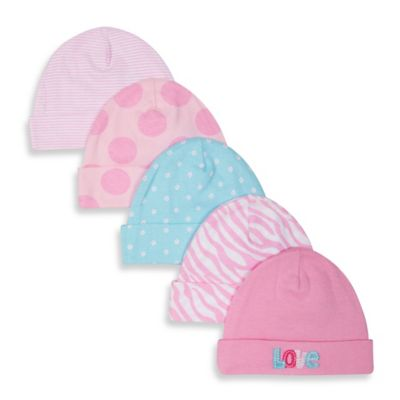 Gerber® Newborn 5-Pack Cotton Cap in Pink/Blue