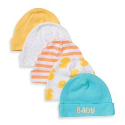 Gerber® Newborn 5-Pack Cotton Cap in Orange/Yellow/Blue