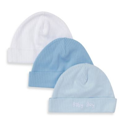 Gerber® Newborn 3-Pack Textured Knit Cap in White/Blue