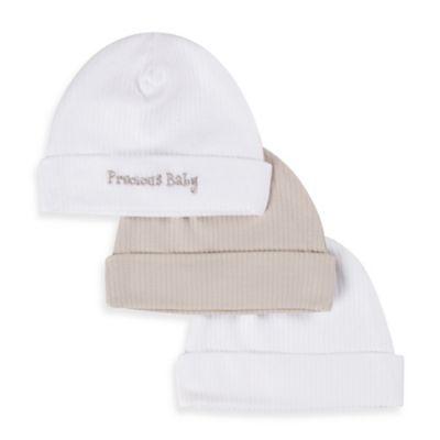 Gerber® Newborn 3-Pack Textured Knit Cap in White/Tan