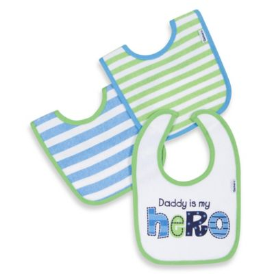 "Gerber® 3-Pack ""Daddy Is My Hero""/Striped Terry Bibs in Green/Blue"
