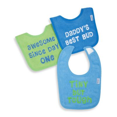Gerber® 3-Pack Slogan Terry Bibs in Green/Blue