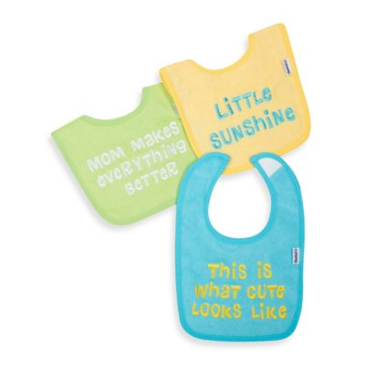 Gerber® 3-Pack Slogan Terry Bibs in Green/Aqua/Yellow