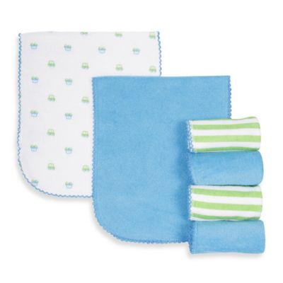 Gerber® 6-Pack Car Terry Over the Shoulder Burp Cloths in Blue/Green
