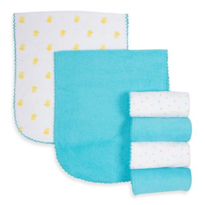Gerber® 6-Pack Duck/Solid Terry Over the Shoulder Burp Cloths in Yellow/Aqua