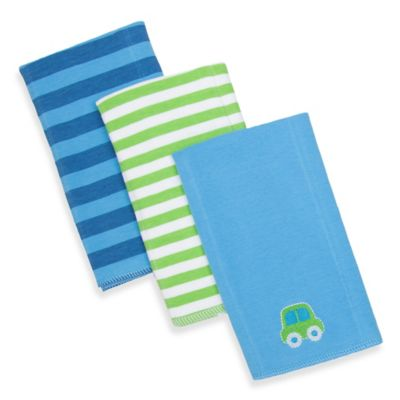 Gerber® 3-Pack Stripe/Car Knit Burp Cloths in Blue and Green