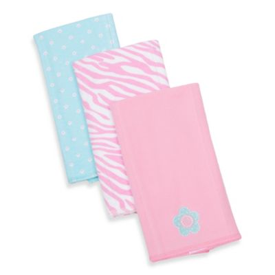 Gerber® 3-Pack Flower/Zebra Knit Burp Cloths in Pink and Blue