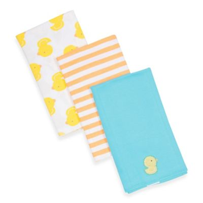 Gerber® 3-Pack Duck/Stripe Knit Burp Cloths in Yellow/Orange/Aqua
