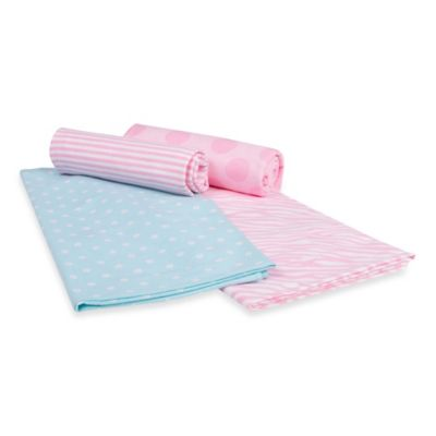 Gerber® 4-Pack Dot/Stripe/Flower/Zebra Flannel Blankets in Pink and Blue