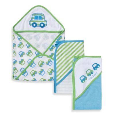 Gerber® 3-Pack Car Hooded Towels in Green and Blue