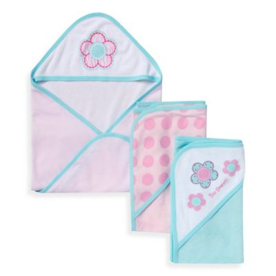 Gerber® 3-Pack Flowers and Dots Hooded Towels in Pink and Blue
