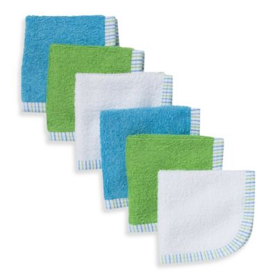Gerber® 6-Pack Premium Cotton Washcloths in Blue/Green/White