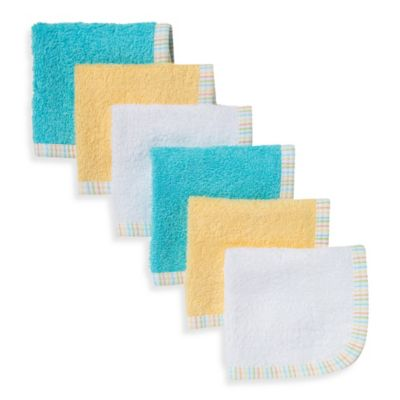Gerber® 6-Pack Premium Cotton Washcloths in Teal/Yellow/White