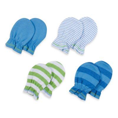 Gerber® 4-Pack Newborn Mitten in Blue/Pinstripe/Green Stripe/Blue Stripe