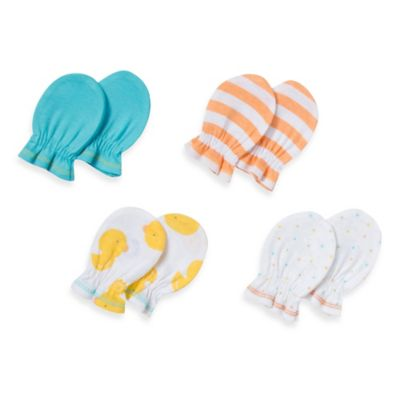 Gerber® 4-Pack Newborn Mitten in Blue/Orange/Yellow/Dot