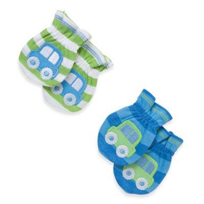 Gerber® 2-Pack Car Newborn Mitten in Green/Blue Stripe