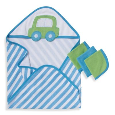 Gerber® 3-Pack Terry Hooded Towel and Washcloth Set in Blue and Green Car