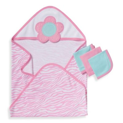 Gerber® 3-Pack Terry Hooded Towel and Washcloth Set in Pink and Blue Flower